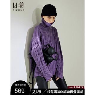 rizhuo 日着 原创设计女装2021秋冬季新款 外穿高领羊毛宽松慵懒风毛衣女 冬日紫预计10.5号发货 S
