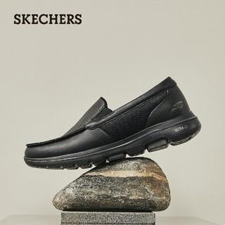 SKECHERS 斯凯奇 Skechers斯凯奇舒乐步秋季纯色商务皮鞋男士头层牛皮懒人一脚套鞋