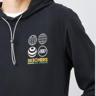 SKECHERS 斯凯奇 Skechers斯凯奇2021秋冬新款男百搭宽松舒适印花连帽套头卫衣长袖