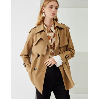 EITIE 爱特爱 女装2021秋季新款双色双排扣设计感叠片中长款风衣外套女C2104802