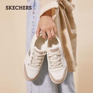 SKECHERS 斯凯奇 Skechers斯凯奇2021新款低帮女鞋时尚拼接休闲鞋小白鞋板鞋