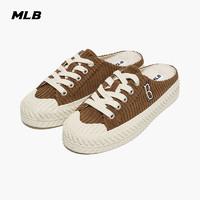 MLB官方 男女帆布鞋PLAY BALL情侣半拖灯芯绒21年秋季新款MUUD1  波士顿红袜队/棕色  230