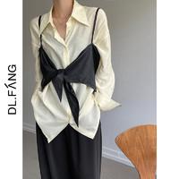 Dl.Fang/达丽坊衬衫女2021秋季新款舒适柔软中长宽松长袖上衣 黑色