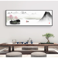 江南人家-07 50x130cm 书房办公室装饰画 中国风山水画