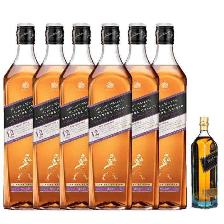 JOHNNIE WALKER 尊尼获加 黑牌原创精选系列 斯佩塞苏格兰威士忌 整箱装 1000ml*6+赠蓝牌200ml(酒板)