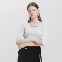 La·go·go 拉谷谷 女装秋季修身圆领镂空韩版五分袖修身针织衫刺绣上衣女