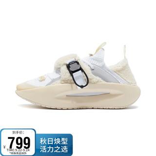 LI-NING 李宁 女鞋运动时尚鞋2021中国李宁系列云游运动时尚篮球休闲鞋AGBR070 标准白/天鹅白-1 38
