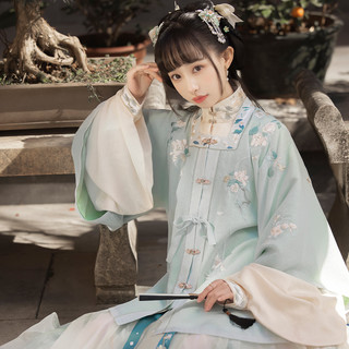 十三余 小豆蔻儿[山色图]绣花方领半袖立领对襟马面裙明制汉服女
