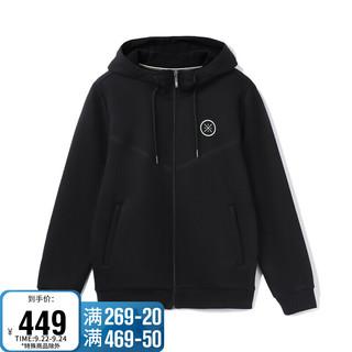 LI-NING 李宁 男装卫衣2021韦德系列男子加绒保暖开衫连帽卫衣AWDR843 黑色-1 L