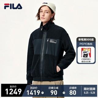 FILA 斐乐 官方男子仿羊羔绒外套2021冬季新款简约时尚运动外套男