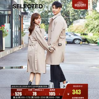SELECTED 思莱德 挺括复古双排扣休闲男士中长款风衣T420321030 浅沙色SIMPLY TAUPE 175/96A/M