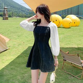 Semir 森马 2021秋季新款撞色拼接木耳边气质女孩裙子时尚设计感连衣裙女
