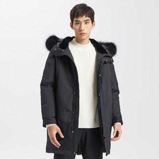 ME&CITY 冬装男长款派克工装外套大毛领宽松保暖男式羽绒服