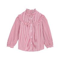 Little MO&CO. 女儿童长袖衬衣荷叶边条纹衬衫洋气