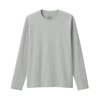 MUJI 無印良品 无印良品 MUJI 男式 水洗 天竺编织 圆领长袖T恤 灰色 XL