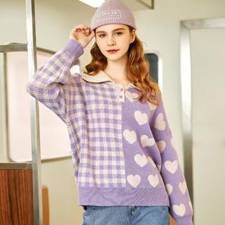 EPTISON 衣品天成 polo领毛衣女秋冬设计感小众保暖发热套头宽松外穿上衣