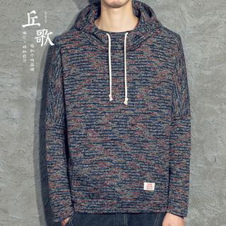 丘歌 日系连帽毛衣男冬季 韩版潮复古针织衫男秋季 套头毛线衫外套
