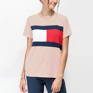 TOMMY HILFIGER 汤米·希尔费格 汤米 新款女士胸前双色旗帜标志短袖休闲T恤 美码偏大一码