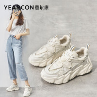YEARCON 意尔康 女鞋舒适百搭休闲鞋透气厚底老爹鞋女网面增高小白鞋E61101010 米白 37