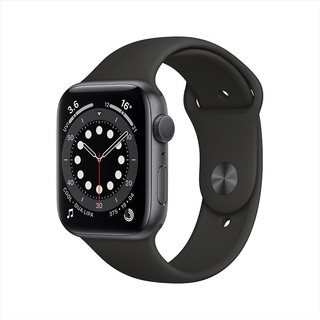 Apple 苹果 Watch Series 6智能手表 GPS款 44毫米深空灰色铝金属表壳 黑色运动型表带 M00H3CH/A