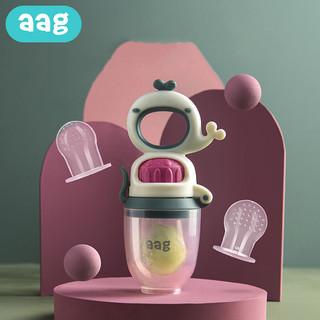 AAG aag婴儿咬咬乐(赠咬袋*2 防掉链) 宝宝牙胶磨牙棒 奶嘴辅食神器儿童 安抚奶嘴咬咬袋可推进式-浅雾米