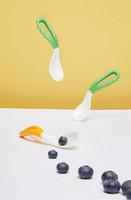 gb 好孩子 儿童餐具辅食勺 宝宝 弯型双色汤勺 训练餐具(绿色+黄色 2只装)
