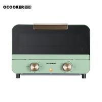 QCOOKER 圈厨 CR-KX1201T复古烤箱家用烘焙双层烤位多功能全自动蛋糕小型迷你电烤箱小米12L复古绿色小米生态链