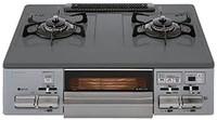 NORITZ 能率 台式煤气灶 灰色搪瓷表面 无水双面烧烤架 银色 NW61QVL13A