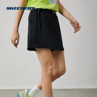 SKECHERS 斯凯奇 女针织舒适时尚休闲运动假两件短裤裙 L221W019 0018碳黑 M
