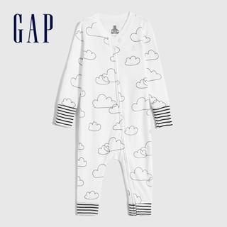 Gap 盖璞 婴儿纯棉洋气长袖连体衣 秋季新款童装可爱云朵宝宝包屁衣爬服