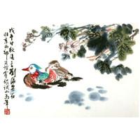 朶雲軒 刘海粟 木版水印画《芙蓉鸳鸯》38cmx55cm 宣纸 花鸟装饰画