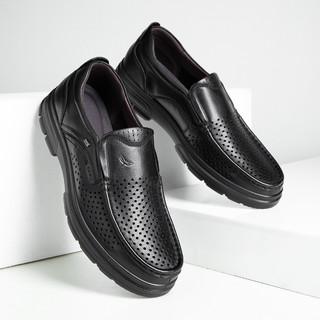 RED DRAGONFLY 红蜻蜓 2021夏真皮商务休闲鞋中老年皮鞋镂空透气冲孔鞋