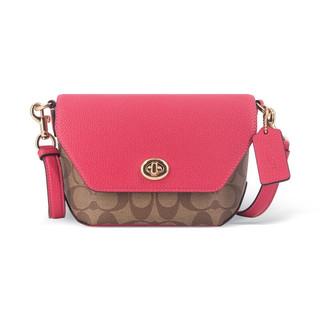 COACH 蔻驰 奢侈品 女士小号单肩斜挎包浅棕配粉色PVC配皮 C2816 IMD9S