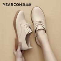 YEARCON 意尔康 女鞋时尚英伦风系带低跟小皮鞋休闲百搭潮流单鞋女 1562DD27078W 米白 37