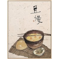 仟象映画 李知弥 《且慢》 40x50cm 新中式三联餐厅 墙面装饰画 浅木色实木框