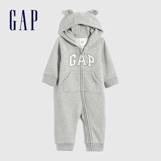 Gap 盖璞 婴儿LOGO抓绒长袖连体衣738836 2021秋季新款童装熊耳连帽爬服