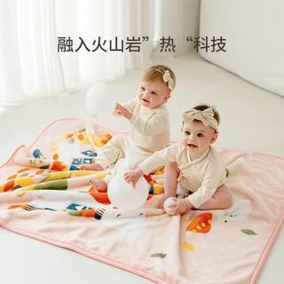EMXEE 嫚熙 婴儿被子春秋空调被新生儿毛毯云毯儿童幼儿园小毯子宝宝盖毯 蘑菇林 110*140