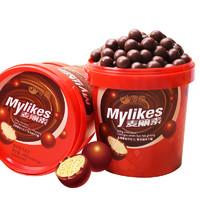 零趣 黑巧克力豆球麦丽素桶装 168g