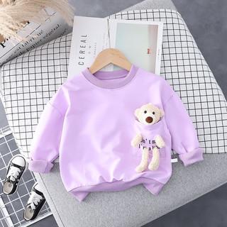 儿童打底衫纯棉宝宝长袖 紫色 小熊口袋卫衣