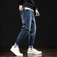男宽松牛仔长裤休闲新款潮流街头风男友风青年男士牛仔裤 中牛仔蓝