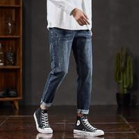 牛仔裤男士牛仔裤秋季男式牛仔裤弹力小磨破修身小脚牛仔长裤 灰蓝