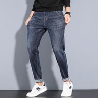 纯色直筒牛仔裤男潮流风尚棉弹牛仔裤男 蓝色