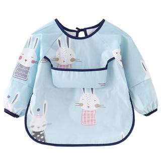 Zyuxuan 稚语轩 罩衣儿童长袖宝宝吃饭衣防水围兜男童纯棉春秋倒褂护衣女孩反穿衣