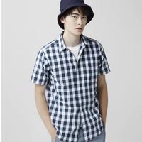 lativ 诚衣 男子格子纹半短袖衬衫  46756