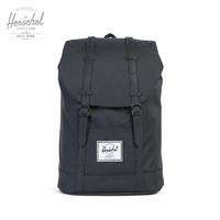 Herschel Supply 和行 Herschel Retreat 经典色时尚潮流男女双肩包书包背包潮牌10066   大号经典纯黑