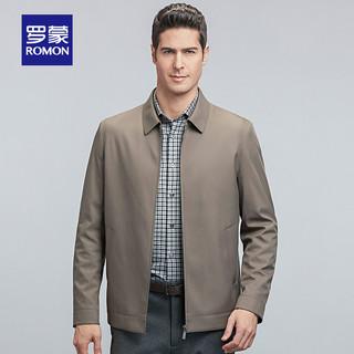 ROMON 罗蒙 夹克衫男2021秋季新款商务休闲纯色外套中老年翻领爸爸装上衣