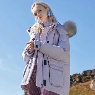 MECITY女装冬季休闲长袖貉子毛领派克羽绒服