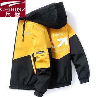 外套夹克男士2021春秋季新款青年潮流工装拼色连帽上衣服饰新品tj 601黄黑色 XL码