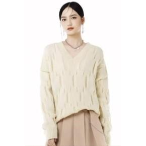 薇娅热播 : viyaniya V213MYG121 女士V领套头毛衣