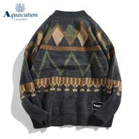 Aquascutum 雅格狮丹 男女同款复古宽松开衫毛衣